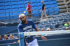 Marcos Baghdatis. Professional Cypriot tennis player Marcos Baghdatis during his practice session at the 2013 US open tennis tournament Royalty Free Stock Image