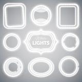 Marcos blancos de las luces de neón Imagenes de archivo