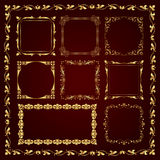 Marcos caligráficos decorativos de oro en el estilo del vintage - sistema del vector Imágenes de archivo libres de regalías