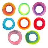 Marcos circulares de la acuarela de colores brillantes imagen de archivo libre de regalías