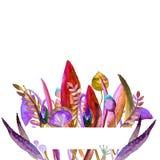 Marcos con la flor Ejemplo dibujado mano de la acuarela Puede ser utilizado como una impresión para la tela o capítulo para su te stock de ilustración
