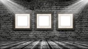 marcos 3D que cuelgan en un viejo interior del grunge Fotos de archivo