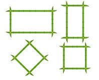 Marcos de bambú verdes determinados de diversas formas con las cuerdas y del lugar para el texto Ejemplo plano del vector de made Fotografía de archivo
