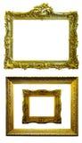 3 marcos de bronce Aislado sobre blanco Fotografía de archivo