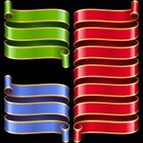 Marcos de la cinta del vector fijados Azul, verde y rojo stock de ilustración