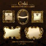 Marcos de la decoración de la vendimia. Escritura de la etiqueta del ornamento del oro Fotos de archivo
