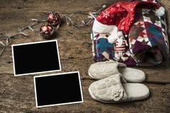 Marcos de la foto de la Navidad, días de fiesta de reclinación Foto de archivo