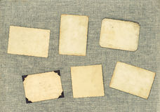 Marcos de la foto del vintage sobre fondo de la materia textil Papel envejecido Foto de archivo