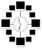 Marcos de la foto en reloj stock de ilustración