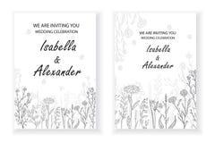 Marcos de la invitación de la boda con las hierbas y las flores salvajes imágenes de archivo libres de regalías