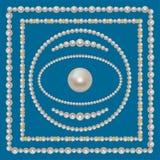 Marcos de la perla fijados Imagenes de archivo
