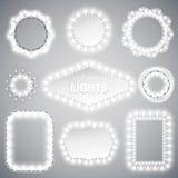 Marcos de las luces de la Navidad blanca Imágenes de archivo libres de regalías