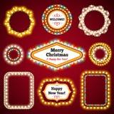 Marcos de las luces de la Navidad con un espacio Set3 de la copia Foto de archivo
