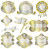 Marcos de lujo del oro y de la plata fijados ilustración del vector