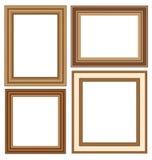Marcos de madera aislados en blanco Imagen de archivo