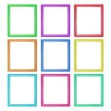 marcos de madera coloridos aislados en blanco Imagen de archivo