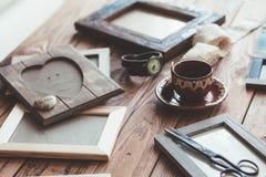 Marcos de madera de la foto Fotografía de archivo libre de regalías