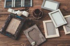 Marcos de madera de la foto Fotografía de archivo