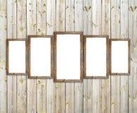 Marcos de madera del granero viejo en la pared de madera Fotografía de archivo