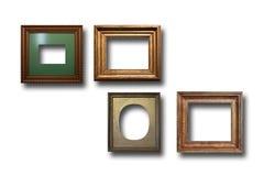 Marcos de madera dorados para las imágenes en fondo aislado Imagen de archivo
