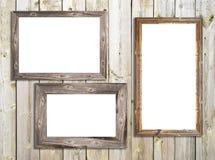 Marcos de madera en textura de madera Fotos de archivo libres de regalías