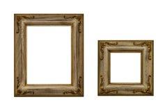 Marcos de madera plateados oro Fotografía de archivo