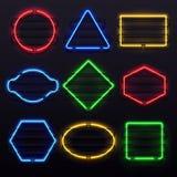 Marcos de neón que brillan intensamente realistas Marco vivo de la lámpara de la luz eléctrica en el estante Luces del sistema co ilustración del vector