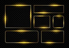 Marcos de oro brillantes Frontera mágica del cuadrado con las líneas y las llamaradas de oro que brillan intensamente, fiesta de  libre illustration