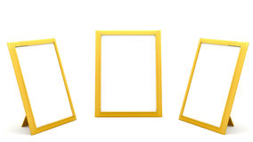 Marcos de oro de la foto en el fondo blanco Imágenes de archivo libres de regalías