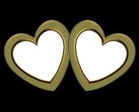 Marcos de oro del corazón de la tarjeta del día de San Valentín Fotografía de archivo