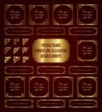 Marcos de oro del vintage, esquinas y elementos caligráficos del diseño Foto de archivo libre de regalías