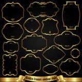 Marcos de oro en el estilo retro - sistema del vector Fotografía de archivo libre de regalías