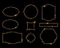 Marcos de oro hermosos fijados Ejemplo de lujo del vector Imagenes de archivo