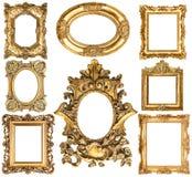 Marcos de oro objetos barrocos de la antigüedad del estilo Colección de la vendimia Foto de archivo