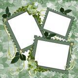 Marcos de paginación florales del libro de recuerdos de la frontera Foto de archivo libre de regalías