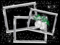 Marcos de plata de la Navidad Imágenes de archivo libres de regalías