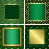 Marcos decorativos de oro verdes ilustración del vector