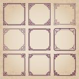 Marcos decorativos del vintage - sistema caligráfico del vector Imagen de archivo libre de regalías