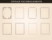 Marcos decorativos del vintage y vector fijado fronteras Foto de archivo