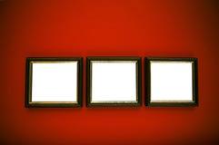 Marcos del arte en la pared roja Imagen de archivo libre de regalías