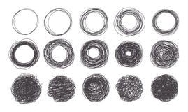 Marcos del círculo del bosquejo del estilo del garabato del grunge del vector stock de ilustración