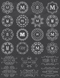 Marcos del círculo del vintage de la pizarra y elementos del diseño Imágenes de archivo libres de regalías