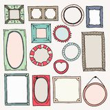 Marcos del color del bosquejo Imagen oval cuadrada exhausta de la mano del marco de la foto del vintage para el garabato del libr libre illustration