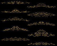 Marcos del divisor del texto del oro Imágenes de archivo libres de regalías