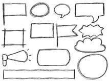 Marcos del Doodle y burbujas del discurso Fotografía de archivo