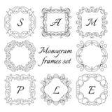 8 marcos del monograma Sistema retro del estilo Ornamentos drenados mano Fotografía de archivo libre de regalías