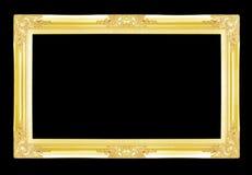 Marcos del oro Aislado en negro Fotografía de archivo