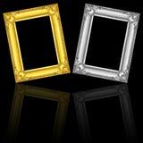 marcos del oro y de la plata aislados en negro con la reflexión Fotos de archivo