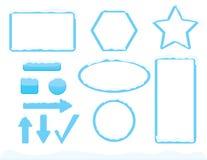 Marcos del tema del invierno y formas de los botones con nieve libre illustration