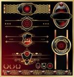 Marcos del vector y conjunto de escrituras de la etiqueta ornamental Fotografía de archivo